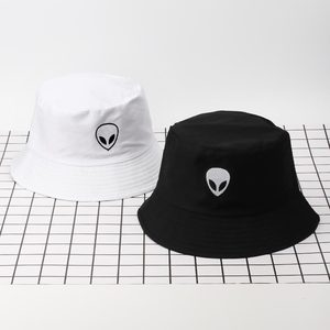 Embroidery Aliens Foldable Bucket Hat Women Men Soild Cotton Fishing Beach Sun Hats Bob Summer Outdoor Fisherman Hip Hop Caps(China)