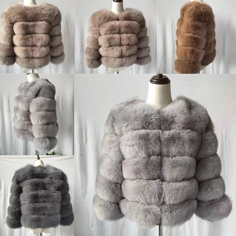 2019 Fashion  Coat Short Real Fur Coat Women Natural Fox Fur Coats Winter Nine Quarter Sleeves Warm Clothing Warm Coat