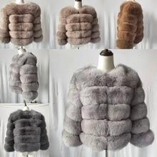 2019 Fashion  Coat Short Real Fur Coat Women Natural Fox Fur Coats Winter Nine Quarter Sleeves Warm Clothing Warm Coat