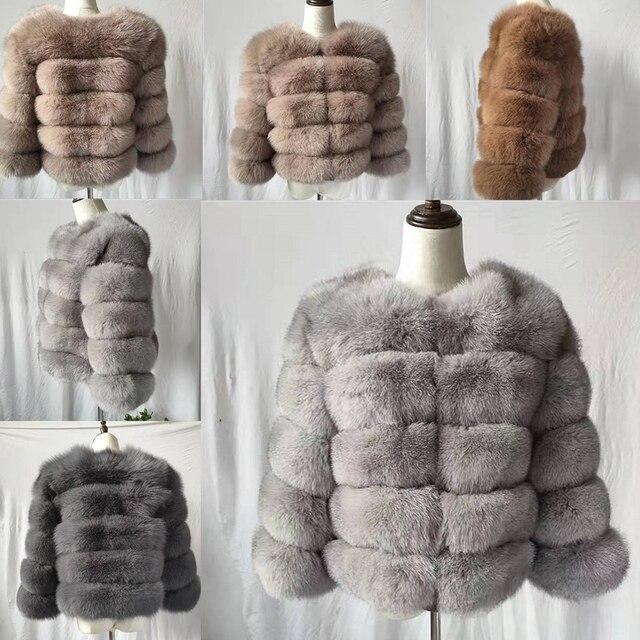 2019 معطف الموضة قصيرة معطف الفرو الحقيقي النساء الطبيعية الثعلب الفراء معاطف الشتاء تسعة أرباع الأكمام الملابس الدافئة معطف دافئ