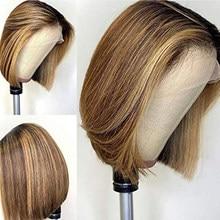 Короткие прямые парики боб, прямые цветные парики из человеческих волос на сетке спереди для женщин, предварительно выпрямленные Детские в...