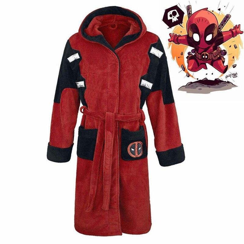 New Anime Marvel Superhero Deadpool Cosplay Costumes Pajamas Wade Winston Wilson Bathrobe Sleepwear Flannel Jumpsuits Suit