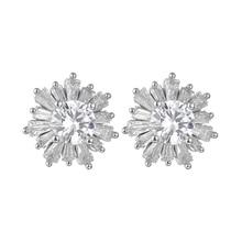snowflake zirconia earrings stud earrings chic cubic zircon earrings for women luxury jewelry gift недорого
