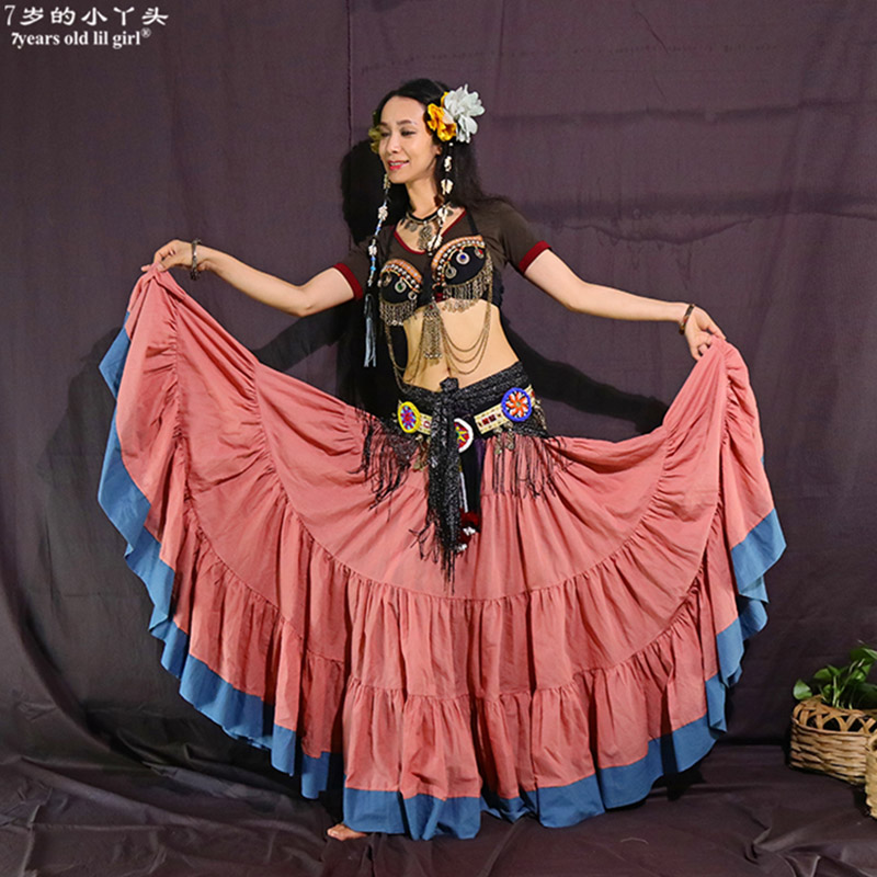 Tribal Belly Dance Skirts ATS Performance Cotton Flamenco Clothing Cotton Long Full Circel Skirt Gypsy Dance CWW05
