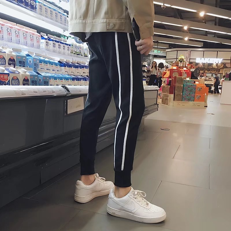 MEN'S Casual Pants 2018 Summer New Style Korean-style Trend Versatile Stripes Beam Leg Trousers Youth Skinny Athletic Pants