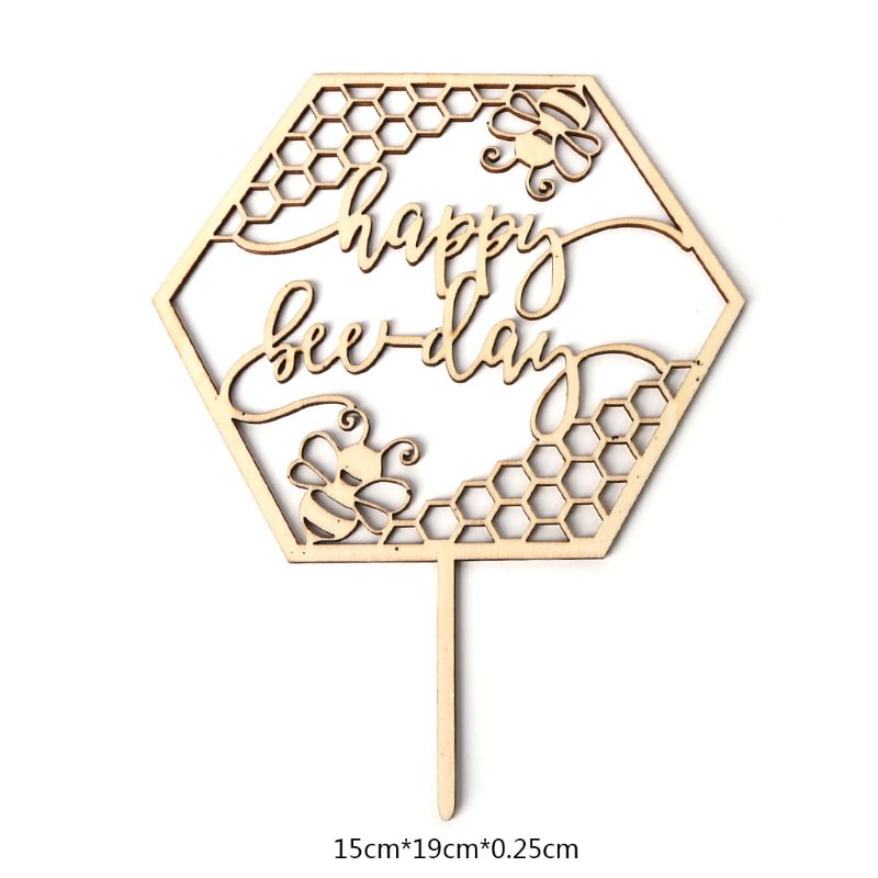 Rustic Wooden Happy <font><b>Bee</b></font> Day Cake Topper Cupcake Picks Baby Shower Birthday <font><b>Party</b></font> Favors <font><b>Supplies</b></font> Decoration RXJB image