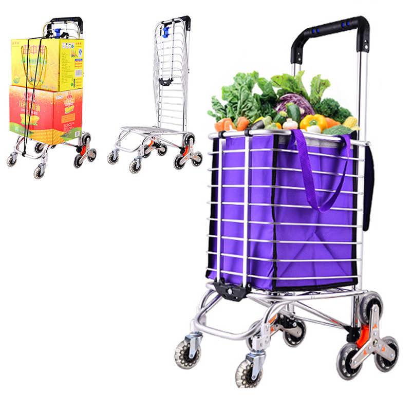 Carrinho de compras portátil do supermercado da grande capacidade do carrinho de compras da grande capacidade, w