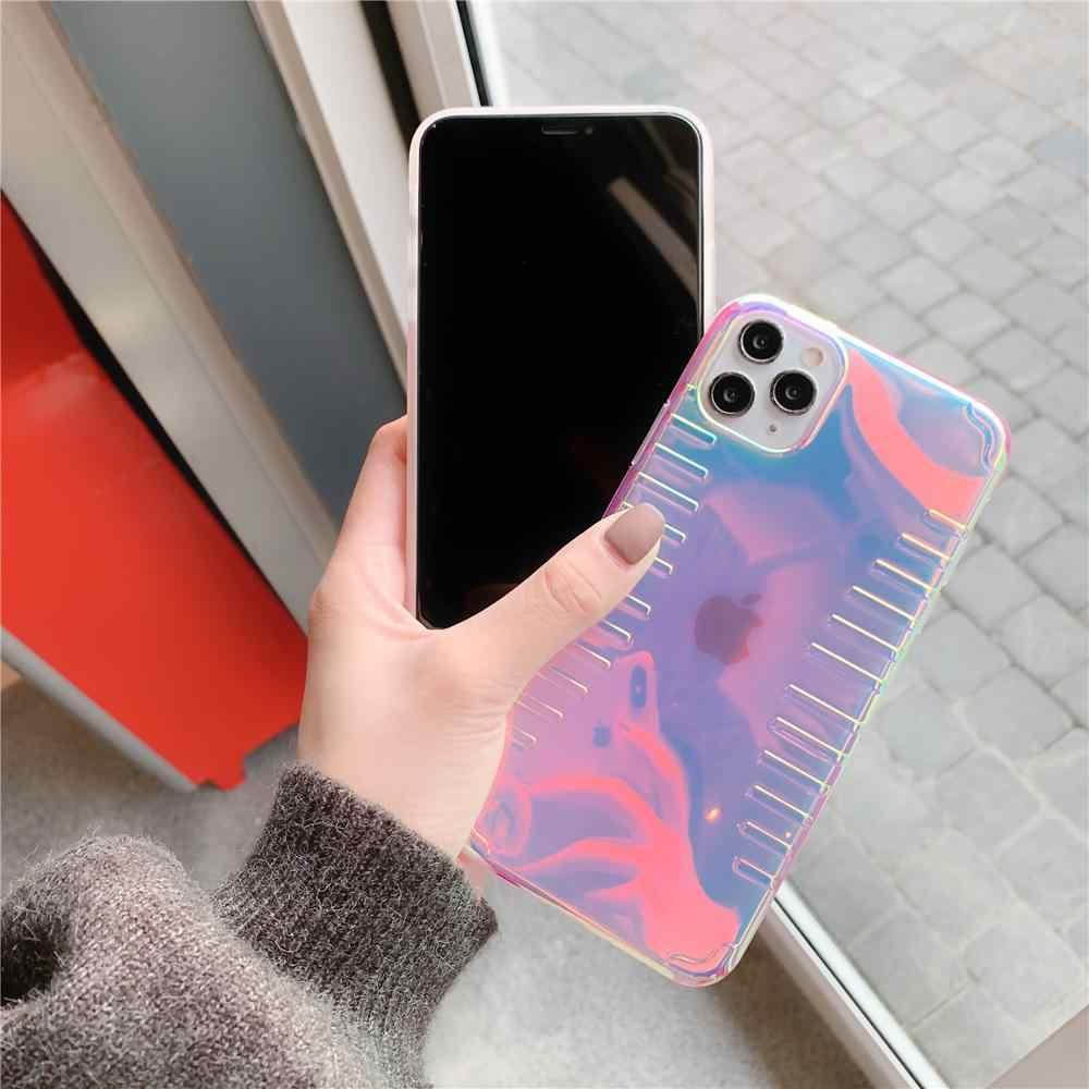 กันกระแทกกันชน Gradient โปร่งใสสีม่วงโทรศัพท์สำหรับ iPhone 11Pro 8 7 6 S PLUS X 10 11 Pro XS MAX XR ปกหลัง