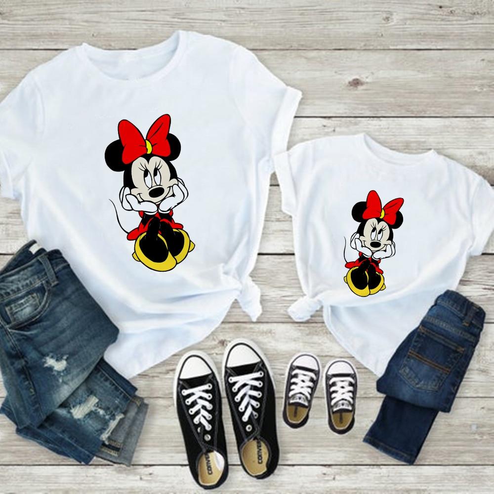 Mom And Daughter Dress Mickey Vogue Harajuku Baby Girl Clothes Kawaii Aesthetic T Shirt Minnie Cute Style Korean Family Look