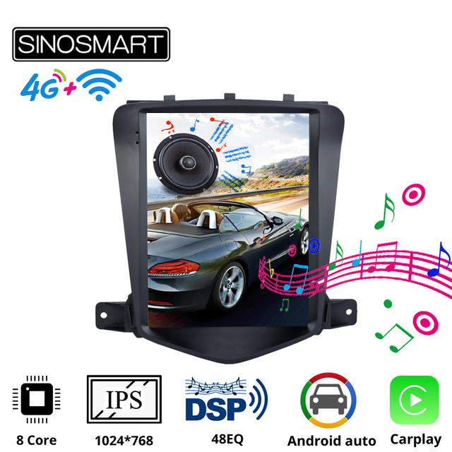 Sinosmart Tesla Style Car GPS Navigation Player Radio for Chevrolet Cruze Daewoo Lacetti Android 2009 2015 IPS Screen
