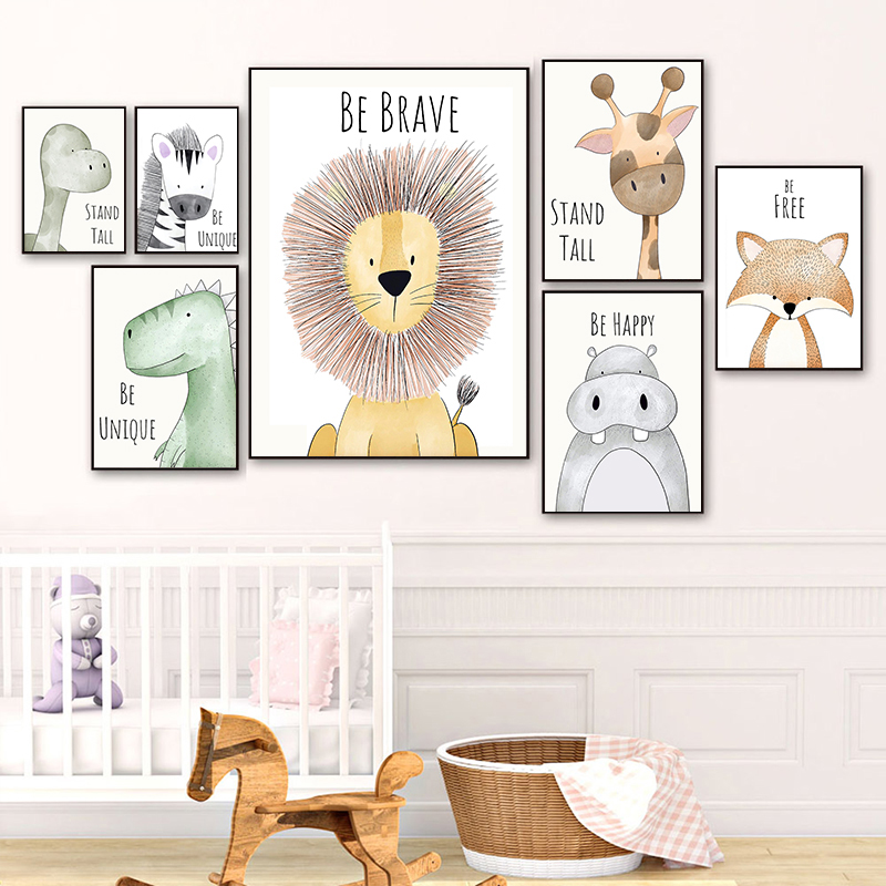 Cartoon Animal Nordic Posters Wall Pictures Lion Elephant Nursery Canvas Painting Wall Art Pictures For Baby Girls Room Decor