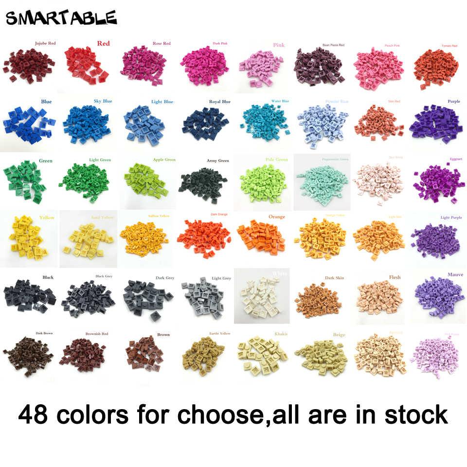 Smartable Bulk Plate 1X1 Building Block Parts 48 Colors For QR Code & LOGO  Toy For Kids Compatible Major Brands 3024 2352pcs/lot