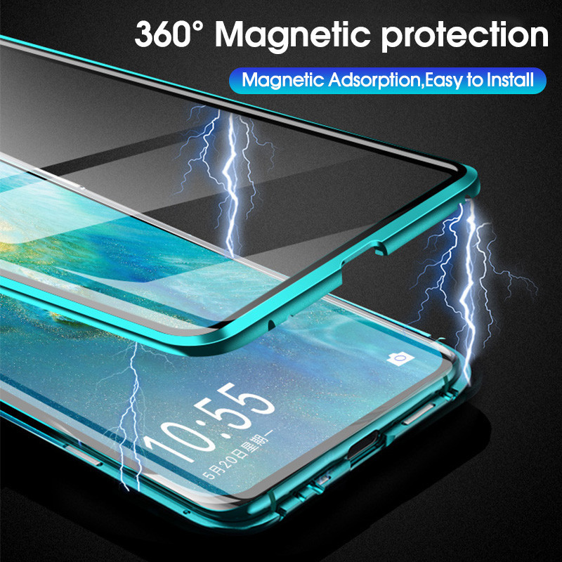 360 Metal Magnetic <font><b>Case</b></font> Cover For <font><b>Samsung</b></font> Galaxy Note 10 S10 S9 S8 Plus Note 8 9 <font><b>A10</b></font> A20 A30 A50 A60 A70 Tempered <font><b>Glass</b></font> <font><b>Case</b></font> image