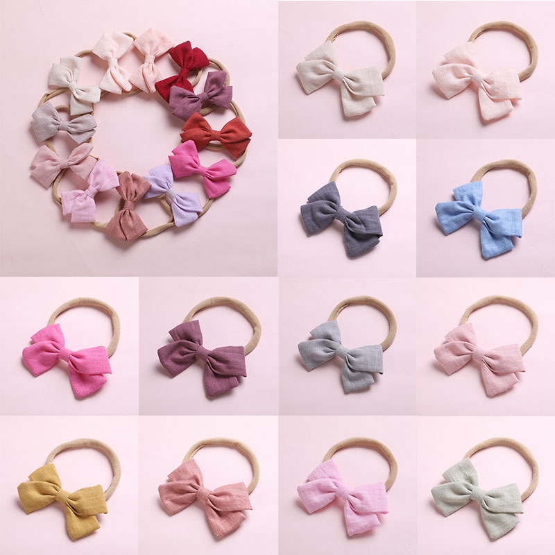 Kids Cloth Pure Color Headbands Big Bowknot Hair Bands Cute Soft Elastic Rubber Band For Child Girls Ornaments Hair Accessories