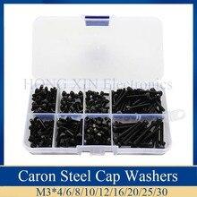 цена на 280pcs/box M2.5 Screw kits Hex socket head cap screw Black steel Hexagon Cylinder Bolt Kits