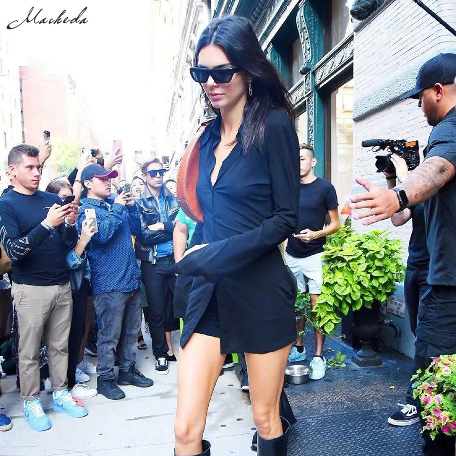 Kendall Jenner Outfit Long Shirt Top Back Hollow Shirt Slim Casual Office Winter Basics Blouses - kendall-jenner-outfits
