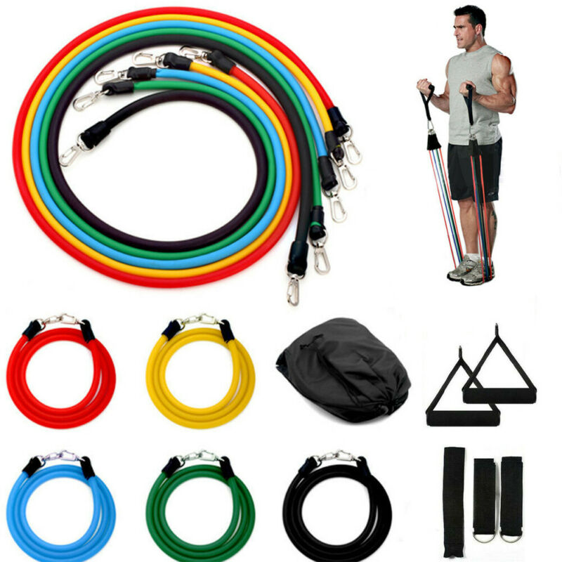 11 PCS Resistance Bands Set Body Fitness Workout Equipment Yoga Exercise Fitness Rubber Tubes Band Stretch Training Gyms Bands