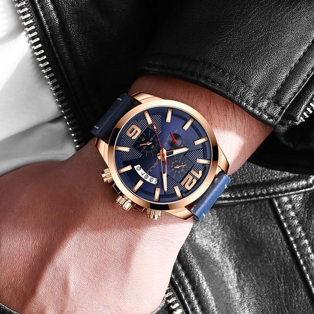 Top Luxury Brand CRRJU New Chronograph Men Watch Hot Sale Fashion Military Sport Waterproof Leather Wristwatch Relogio Masculino 5