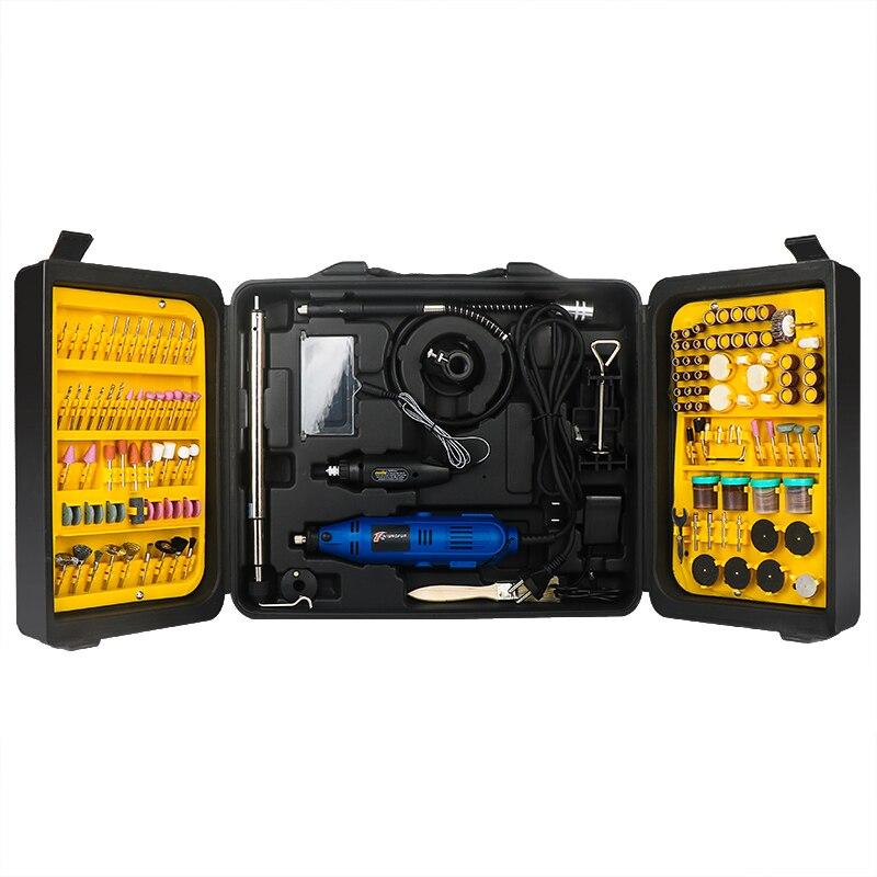 220V Double Mini perceuse ensemble d'outils rotatifs bricolage meuleuse 6 vitesse abrasif polissage Machine 130W graveur avec accessoires Dremel