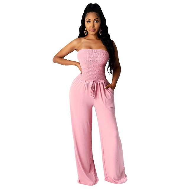 Casual Sleeveless Women Jumpsuits Sexy Strapless Lace Up Loose Overalls with Pocket Summer Fashion Party Women Rompers Outfit 6