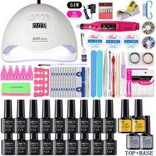 LNWPYH zestaw do paznokci, lampa susząca UV LED z 18/12 sztuk, zestaw, żelowy lakier do paznokci, soak off, narzędzia do manicure, elektryczna wiertarka do paznokci, akcesoria do paznokci