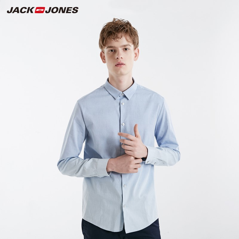 JackJones Men's 100% Cotton Slim Fit Pure Color Basic Long-sleeved Shirt| 219105507