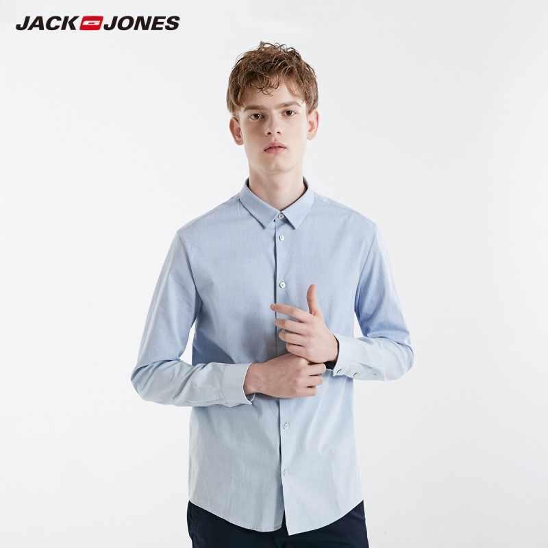 Мужская приталенная Однотонная рубашка с длинными рукавами JackJones из 100% хлопка   219105507