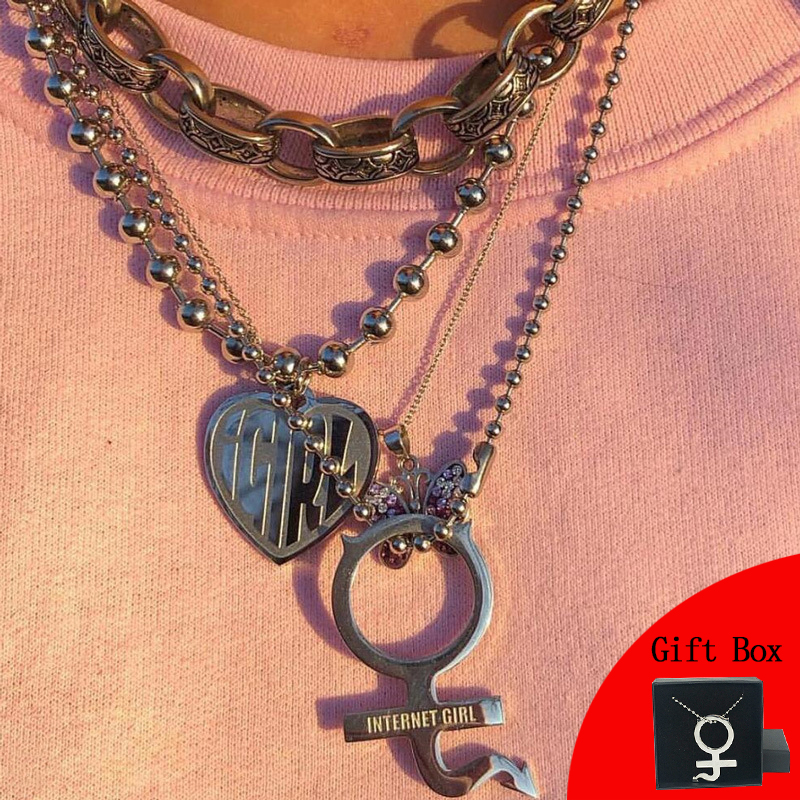 Colar de colar de colar de colar de colar de colar de estilo punk feminino de aço inoxidável