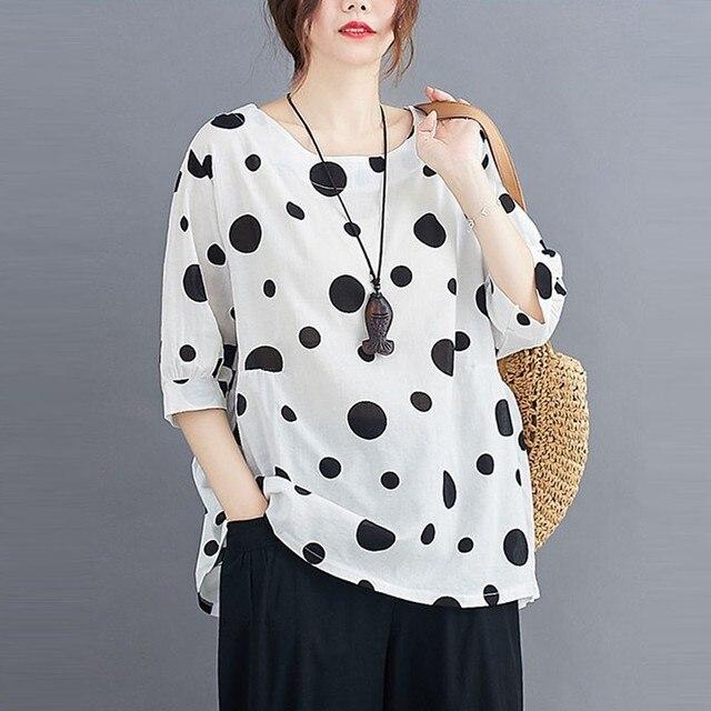 100% Cotton Oversized Shirt Women Summer Loose Casual Tops New 2020 Korean Style Polka Dot Print Woman Blouses Shirts P1027 4