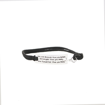 You Are Braver Than You Believe Stronger Than You Seem and Smarter Than You Think Bracelets Letter Leather Velvet Bangles Men image