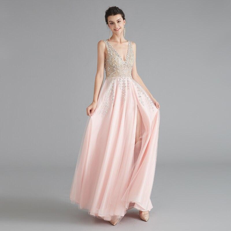 Robes de soirée Sexy longue de luxe perlée formelle femmes robe de soirée de Gala élégante robe de nuit dos nu rose robes de grande taille