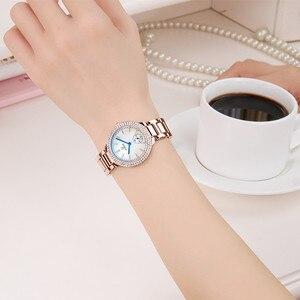 Image 5 - WWOOR damskie zegarki z diamentami luksusowa złota bransoletka damska zegarek wodoodporna stal nierdzewna Casual damski zegarek kwarcowy Reloj Mujer