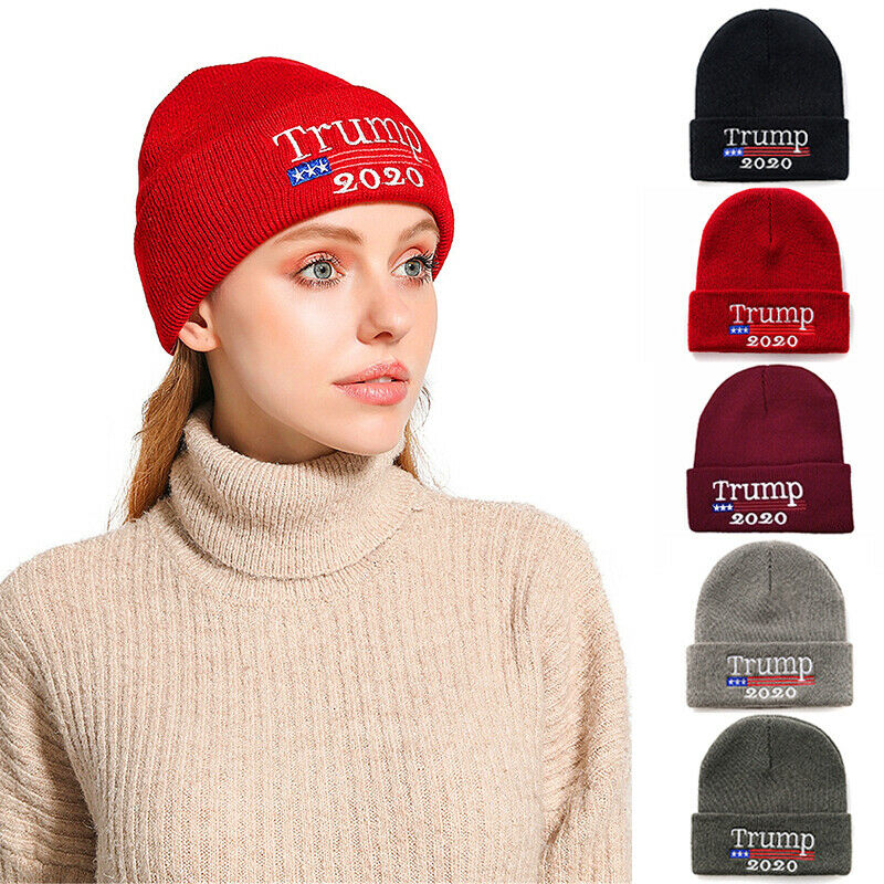 Donald Trump 2020 Winter Knit Cap Make America Great Beanie Warm Ski Hat Xmas