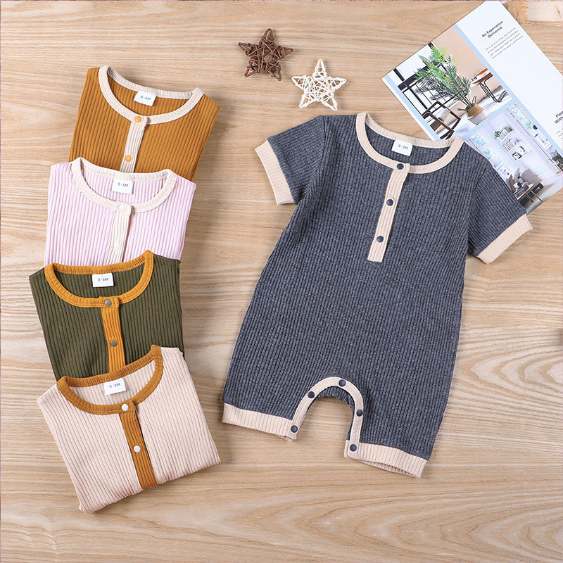 Fashion Solid Color Baby romper Summer Baby Boy Clothes Cotton Linen Short Sleeve Infant Romper Newborn Clothing 3-18 Months