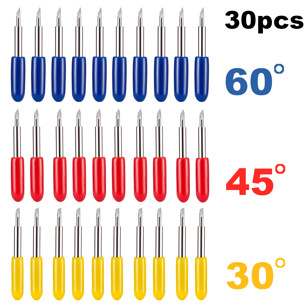 30pcs 30/45/60 Degree Roland Cricut Cutting Plotter Vinyl Cutter Knife Blades Offset Cricut Machine Milling Cutter Carving Tools