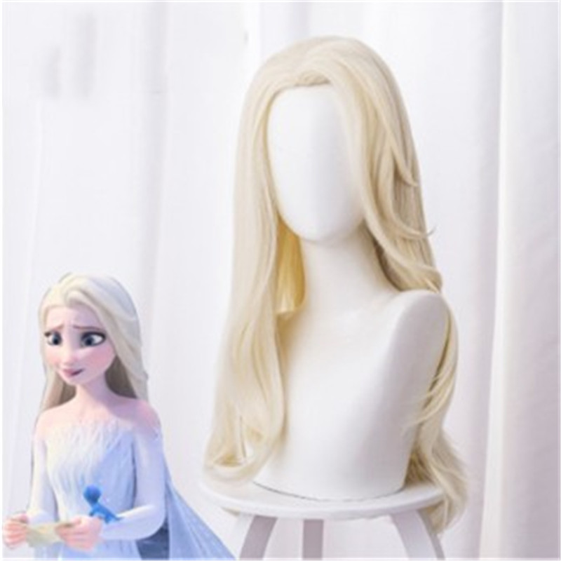 Anime Movie Frozen 2 Cosplay Princess Elsa Anna Wigs Long Light Yellow Distribute Hair Halloween Party Clothes Performance Wig