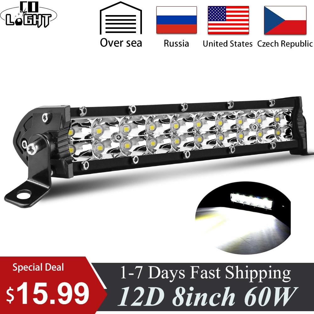 CO LIGHT 12D 8'' 60W LED Work Light Bar Super Slim Dual Row Led Bar Flood Spot Led Work Lamp DRL12V 24V For Niva Trucks ATV Lada