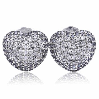 Authentic 925 Sterling Silver Earring In My Heart WIth Crystal Stud Earrings For Women Wedding Gift Fine Jewelry