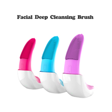 Electric Facial Cleansing Brush Silicone Sonic Vibration Cleaner Deep Pore Cleaning Skin Massage Face Brush Cleansing Wireless цена и фото