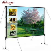 Salange Outdoor Projector Screen With Stand 100 inch 16:9 8K 4K Ultra HD 3D Fast Folding Portable Indoor Projection Screen