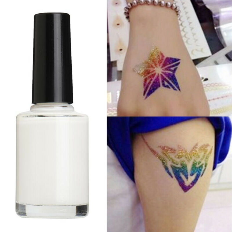 1Pc transparent disposable glitter tattoo gel white glitter powder tattoo adhesive lasting body art waterproof coating