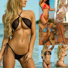 Women Tow Piece Swimsuit High Cut Backless Bikini Set Swimwear Mesh Underwear Sexy Bathing Suit Maillot De Bain Femme#T2(China)