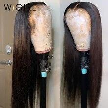 Wigirl 28 30 polegada 13x4 perucas de cabelo humano pré arrancadas brasileiro em linha reta remy 150% fechamento do laço peruca para preto