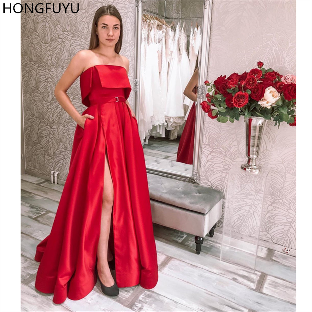 HONGFUYU Red Satin Evening Dresses Strapless A-Line Formal Party Gowns with Slit Pockets Robe De Soiree Floor Length Prom Dress