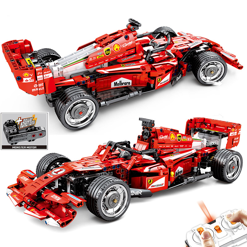 <font><b>701000</b></font> Le Technic Block Going F1 RC Racing Car Power Motor Building Blocks Super Sports Racer Electric Vehicle Bricks Toy image