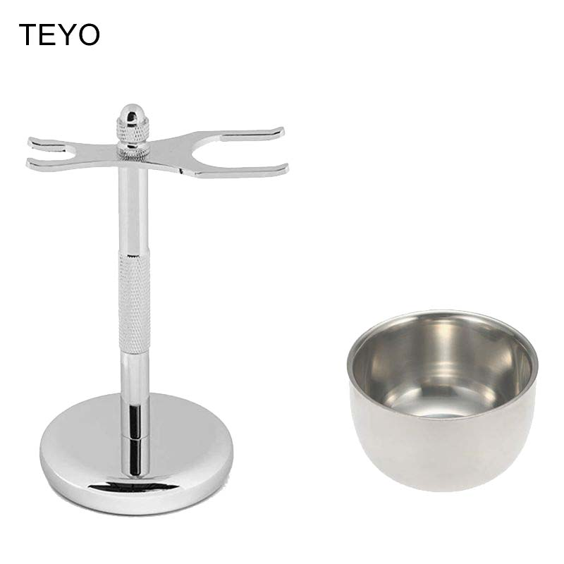 TEYO Chrome Shaving Brush Stand Razor Stand And Bowl Set Perfect For Wet Shave Safety Razor Double Edge Razor