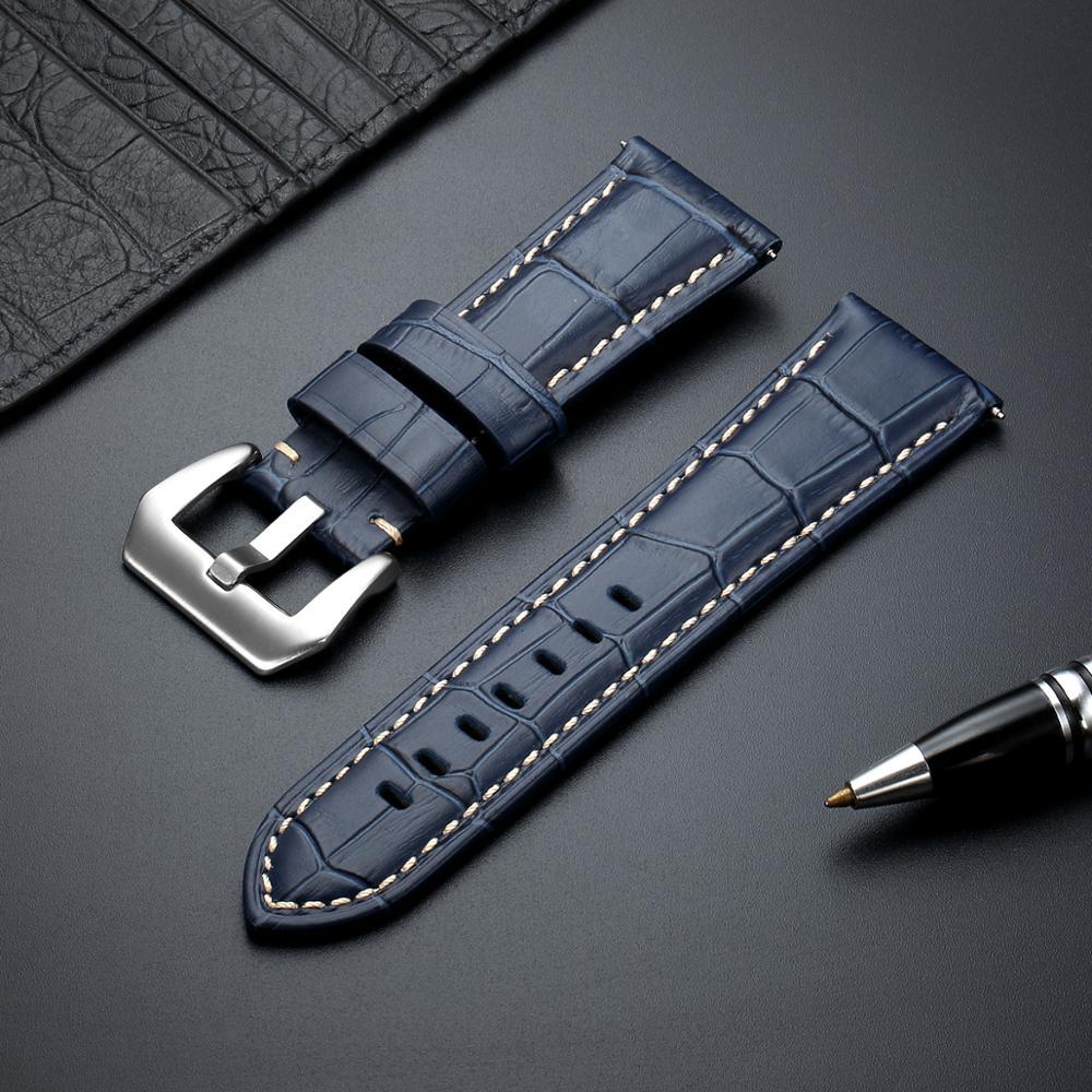 Correa de reloj informal de cuero genuino con textura de bambú, correa de negocios de alta calidad, accesorios para reloj de 20, 22, 24 y 26mm