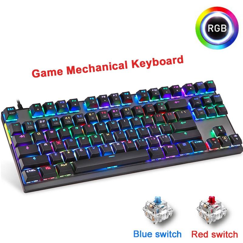 Motospeed English Russian Gaming Mechanical Keyboard RGB LED Backlight USB Wired laser Ergonomics Keyboard For PC