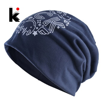 Autumn Soft Bonnet Beanies For Men And Women New Fashion Hats Hip Hop Rock Skullies Beanies Solid Color Printing Letter Gorras 1