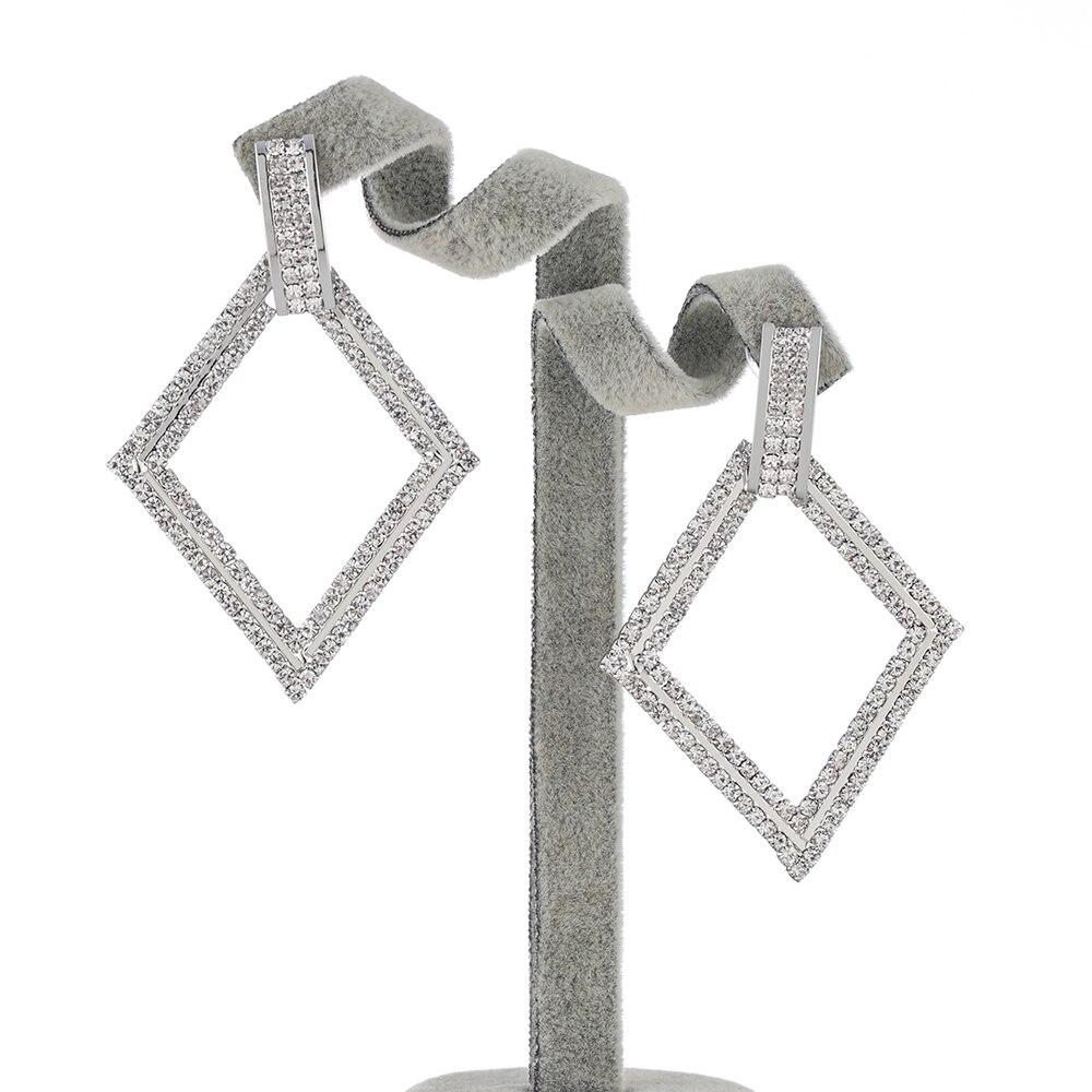 Fashion zinc alloy gold plating rhinestone  shape earring